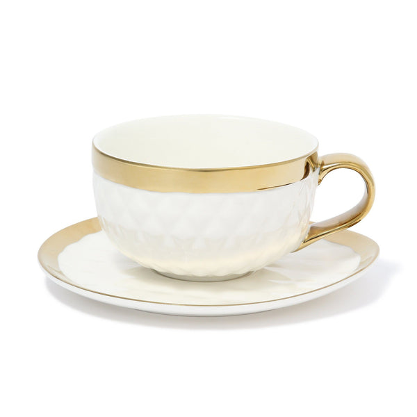 MATELASSE CUP & SAUCER WHITE