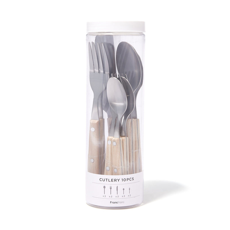 CUTLERY 10PCS WOOD PATTERN White