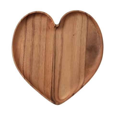 WOODEN HEART PLATE Large Dark Brown