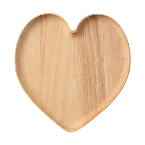 WOODEN HEART PLATE Large Natural