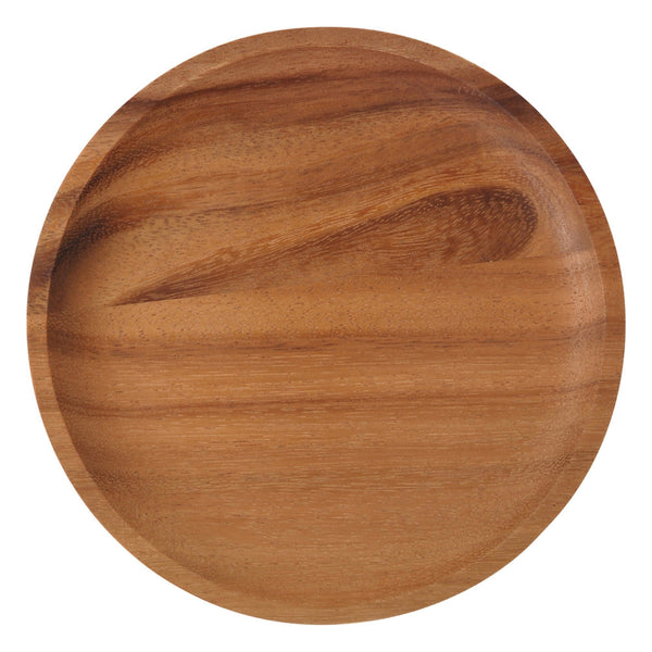WOODEN Round Plate Medium  Dark Brown
