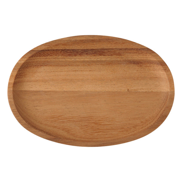 WOODEN OVAL PLATE DARK BROWN