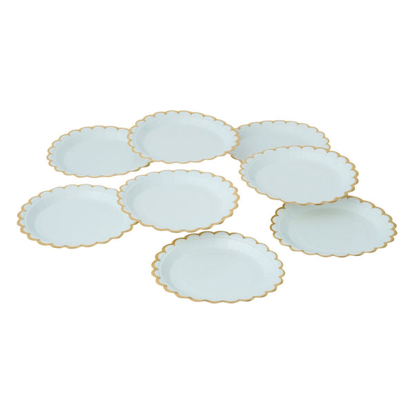 PAPER PLATE 8P FRILL Light Blue