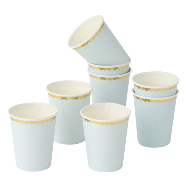 PAPER CUP 8P FRILL Light Blue