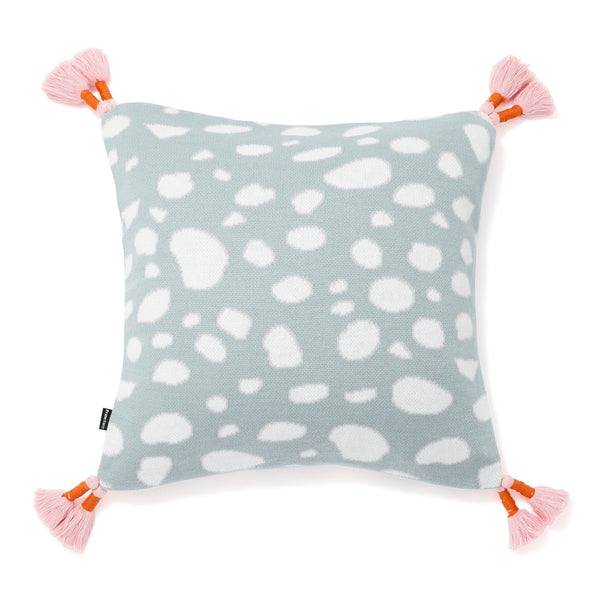 KNIT DRAWING  CUSHION COVER 45 LIGHT BLUE