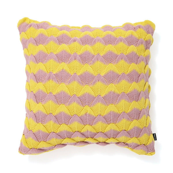 KNIT BORDER CUSHION COVER 45 PINK X YELLOW