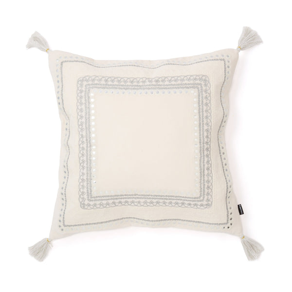 EMB MIRROR CUSHION COVER 45 WHITE