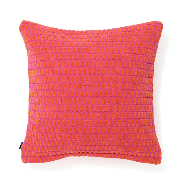 WEAVE CHECK CUSHION COVER 45 ORANGE X PINK