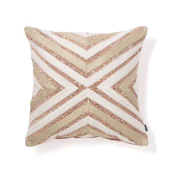 EMB BEAD CUSHION COVER 45 PINK X GOLD