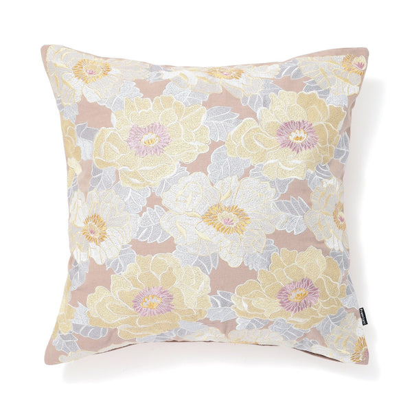EMB BLOOM CUSHION COVER 45 Beige X Yellow