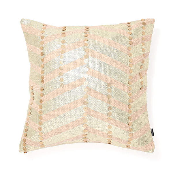 PRINT ZIGZAG CUSHION COVER 45 Pink X Gold