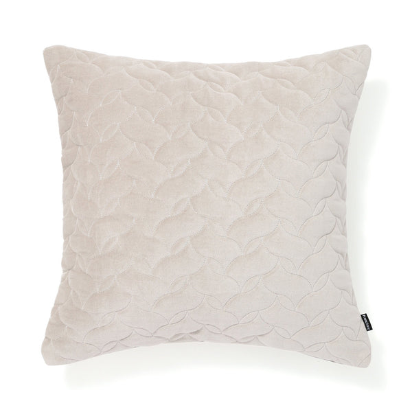VELVET QUILT CUSHION COVER 45 LIGHT GRAY