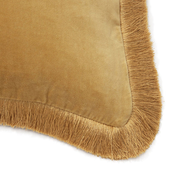 VELVET FRINGE CUSHION COVER 45 YELLOW