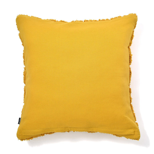 TUFT CHECK CUSHION COVER 45 YELLOW