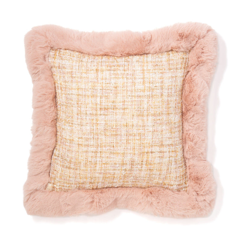 TWEED X FUR CUSHION COVER 45 WHITE X LIGHT PINK