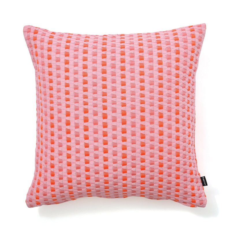 WEAVE CHECK CUSHION COVER 45 Pink X Orange