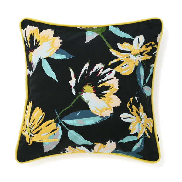 FLOWER CUSHION COVER 45 Yellow X Black