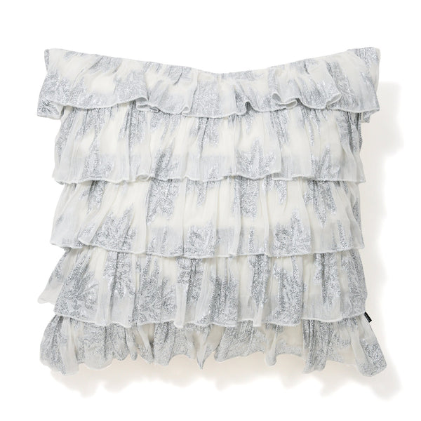 FRILL AX CUSHION COVER 45 White X Silver