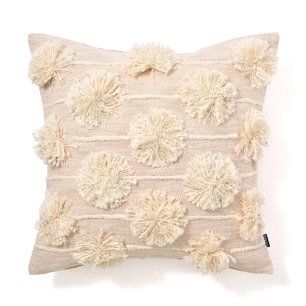 3D SLAB POMPOM CUSHION COVER 45 NATURAL