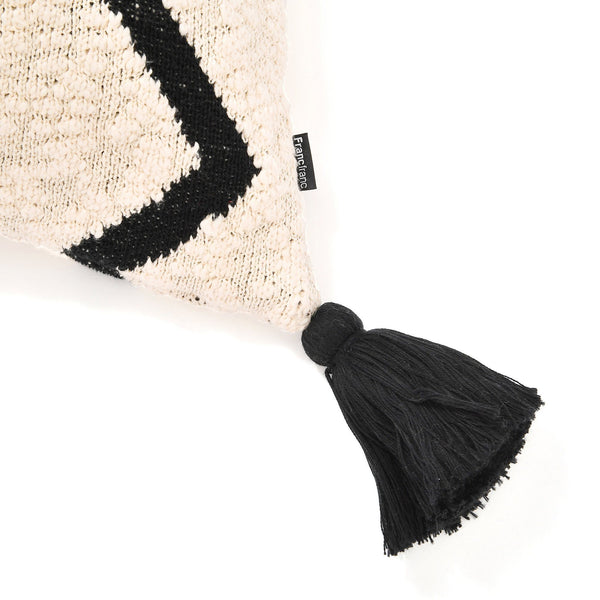 KNIT CUSHION COVER 45 Black X Natural