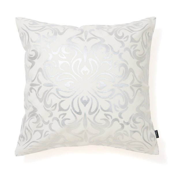 ORNAMENT CUSHION COVER 45 White X Silver