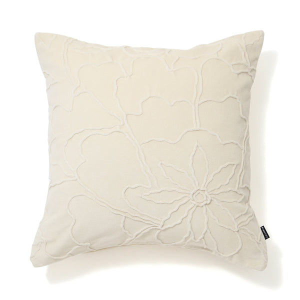 VELVET FLOWER CUSHION COVER 45 White