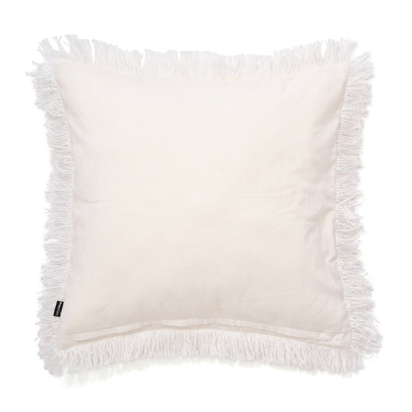 FRINGE CUSHION COVER 45 White X Silver