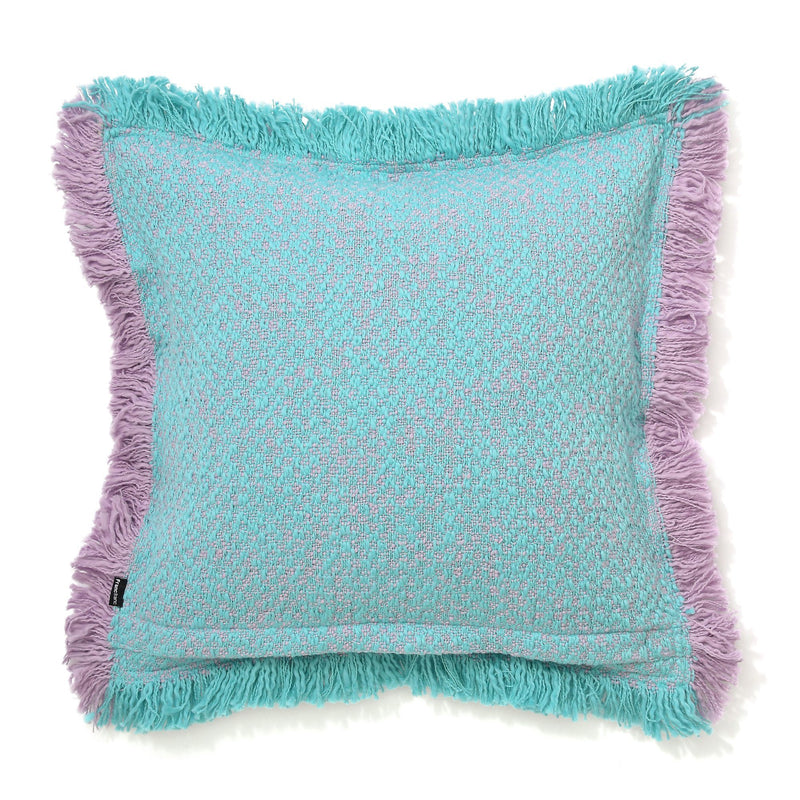 FRINGE CUSHION COVER 45 Blue X Light purple