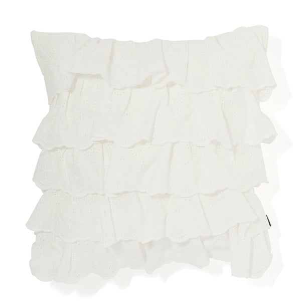 EMB FRILL H CUSHION COVER 45 WH