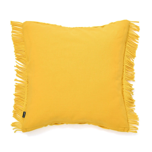 MACRAME CUSHION COVER 45 YELLOW