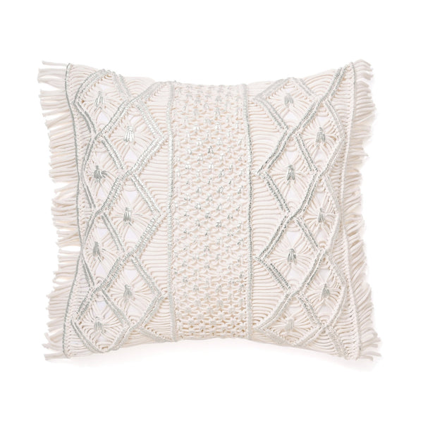 MACRAME CUSHION COVER 45 WHITE X SILVER
