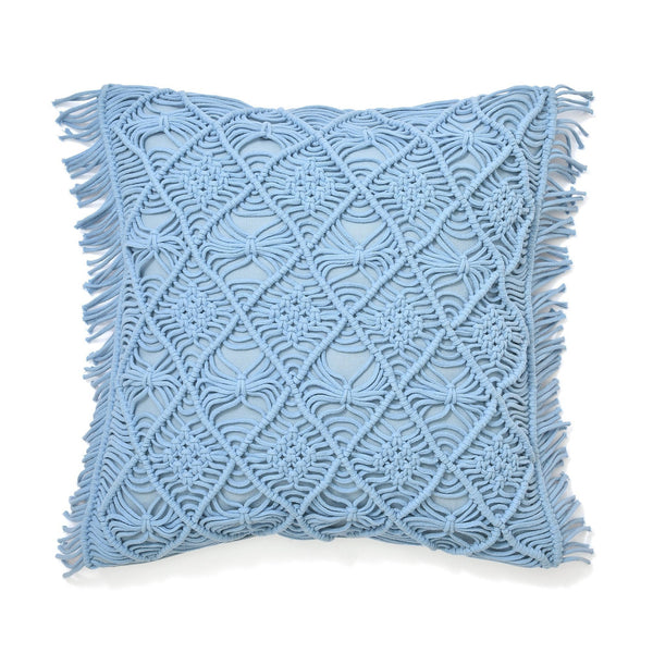 MACRAME CUSHION COVER 45 LIGHT BLUE