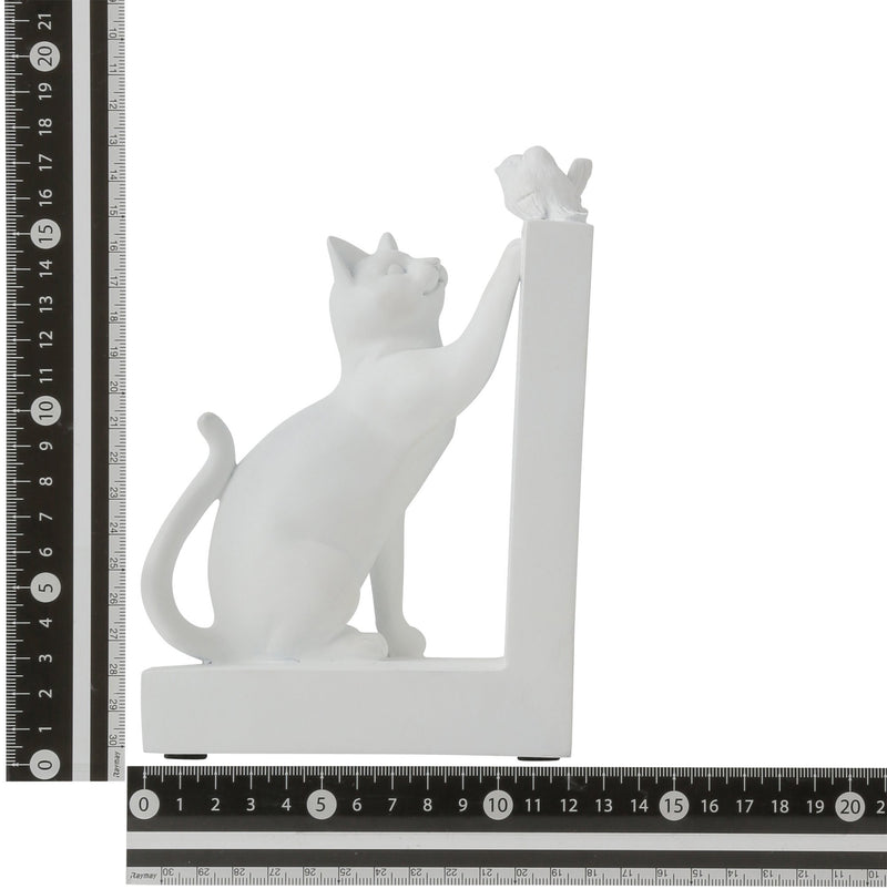 MIGNON BOOKEND CAT & BIRD WHITE