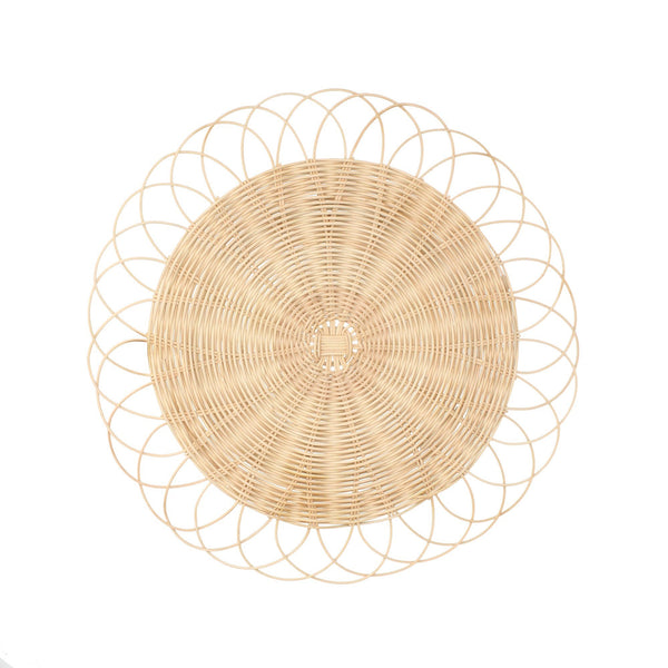 RATTAN FLOWER LUNCH MAT BEIGE