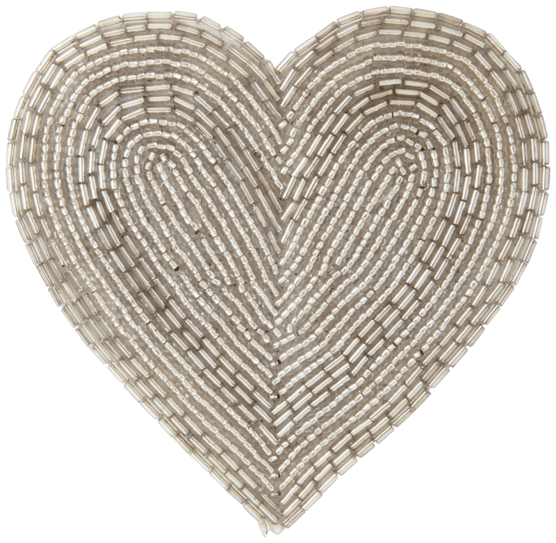 AUSA HEART BEADS COASTER SILVER