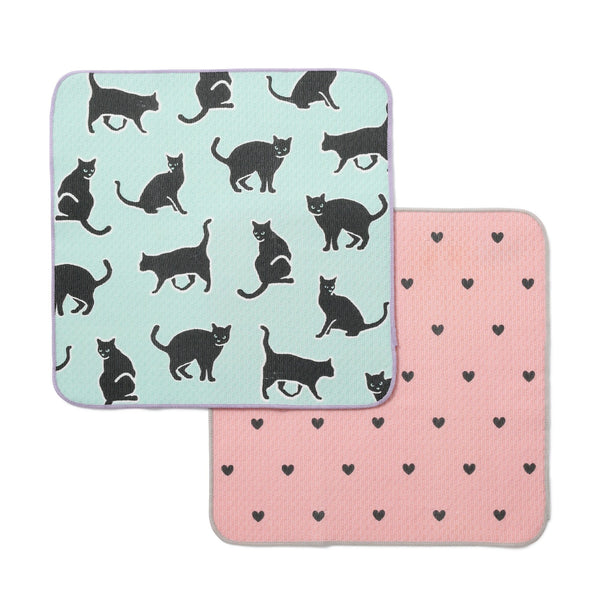 CAT HEART DISH CLOTH 2P Green