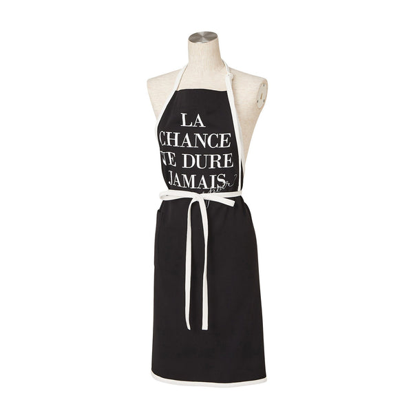 TEXT PRINT FULL APRON Black