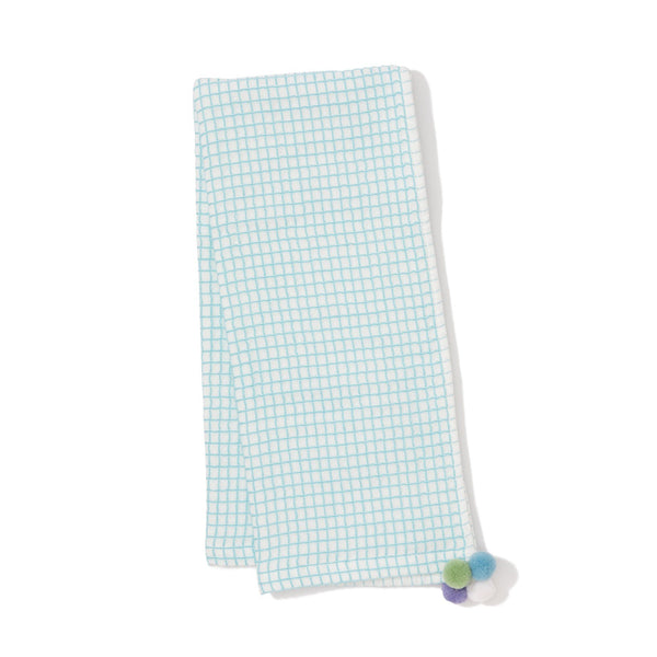 WAFFLE PONPON FACE TOWEL BL