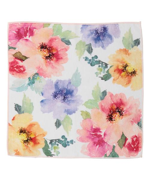 BALLOT HANDKERCHIEF TOWEL WATER COLOR FLORAL PINK
