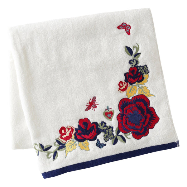 EMBROIDERY Bath Towel White