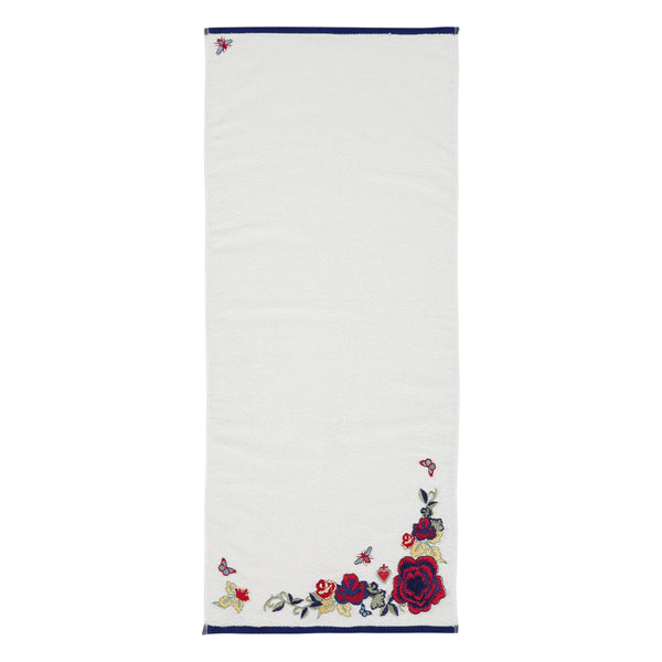 EMBROIDERY Face Towel White