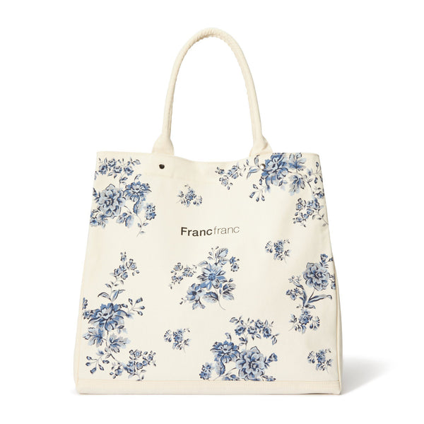 LOGO TOTE BAG FLOWER Large Blue