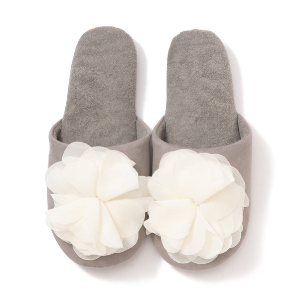 CHIFFON ROOM SHOES FLOWER WHITE