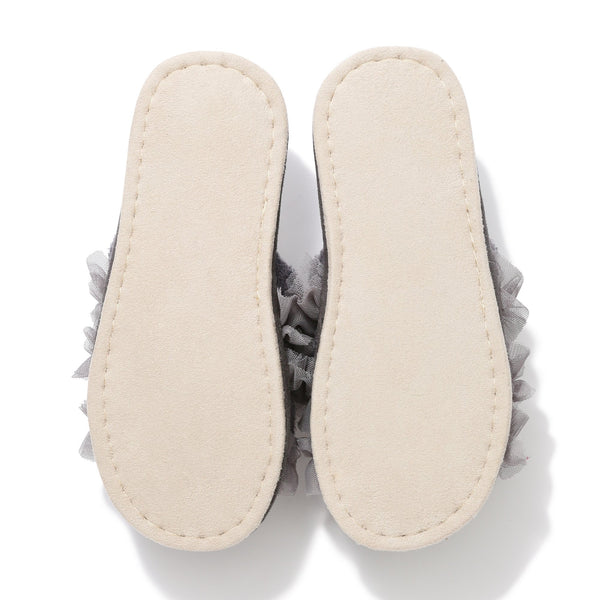 MOIST KNIT FRILL ROOM SHOES GY