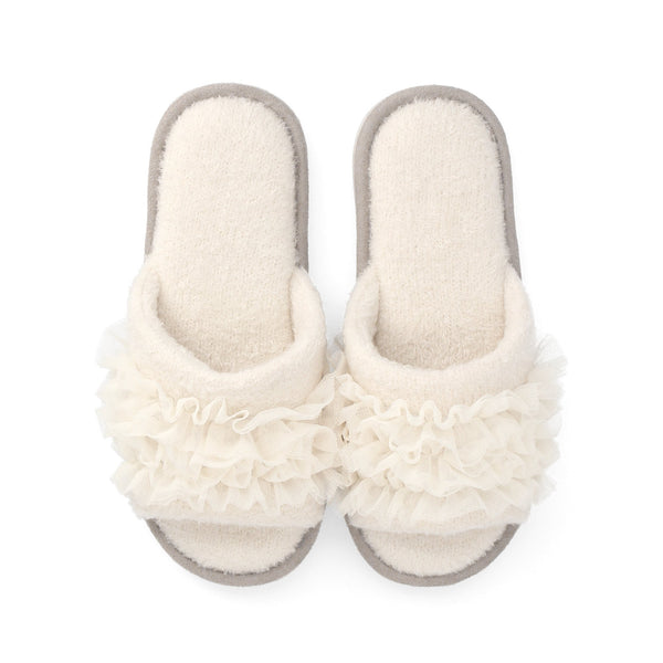 KNIT FRILL ROOM SHOES Ivory