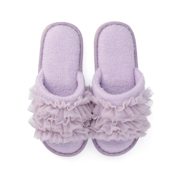 KNIT FRILL ROOM SHOES Purple