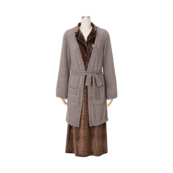 SCALLOP NYLON FEATHER ROBE GY