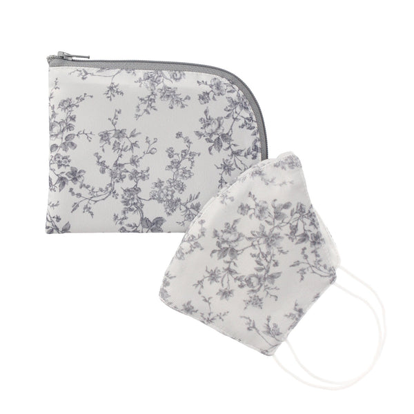 MASK With Pouch Flower Gray