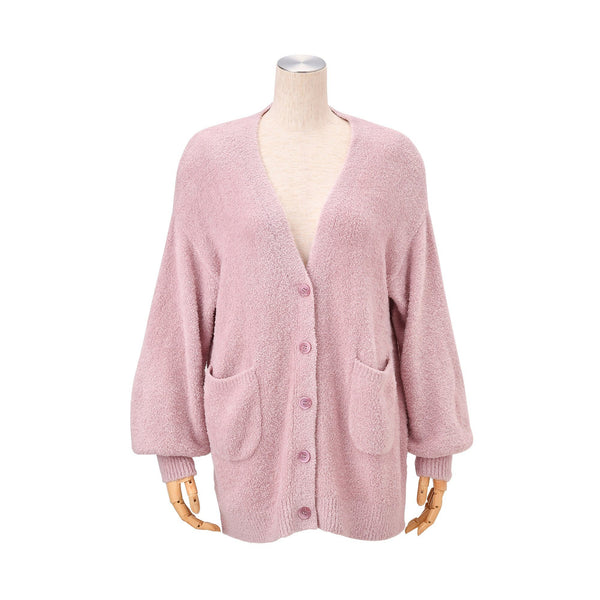 MOIST Feather Knit Cardigan Pink