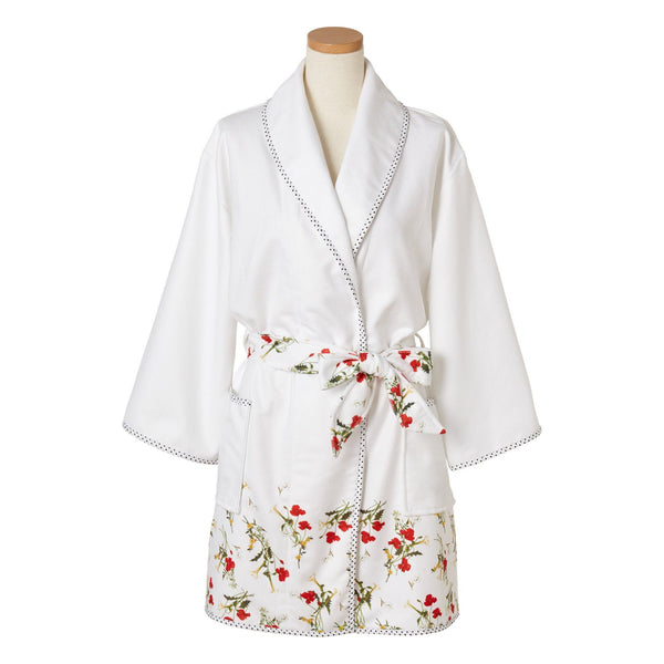 FLOWER Printed Bath Robe White